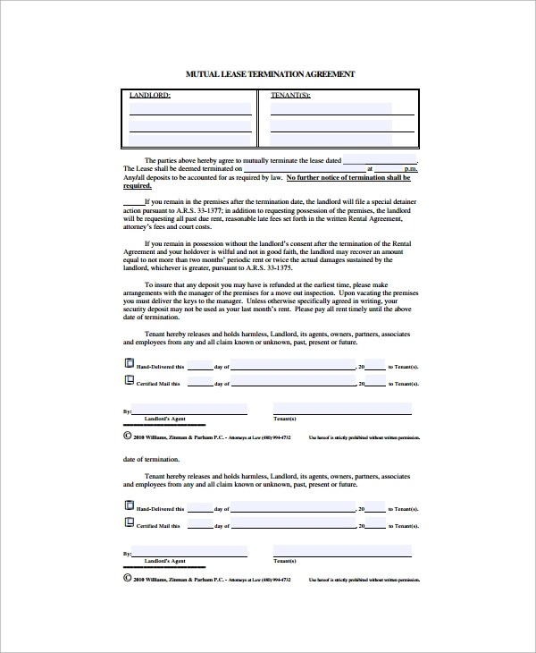 11+ Lease Termination Agreements Sample Templates - lease termination agreement