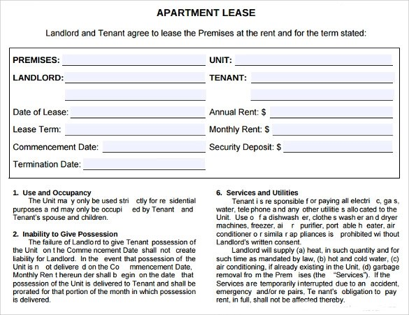7+ Sample Apartment Lease Agreements Sample Templates