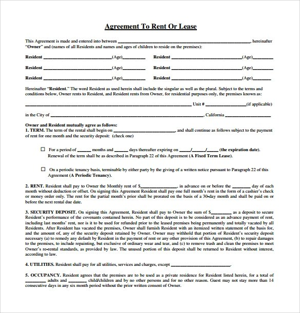 Lease Agreement Template Word Free Download - Fiveoutsiders