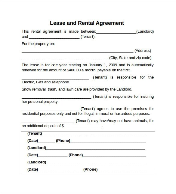 10+ Sample Rental Lease Agreement Templates Sample Templates