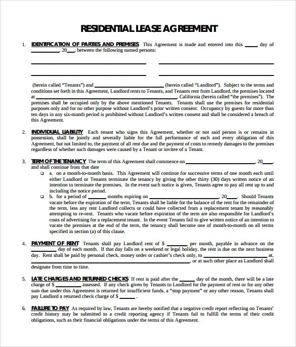 Sample Residential Lease Agreement - 9+ Documents in PDF - apartment lease agreements