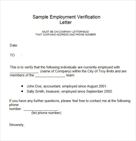 18 Employment Verification Letter Templates Download for Free - example of employment verification letter