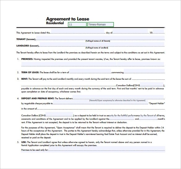 11+ Residential Lease Agreement Templates - Word, PDF