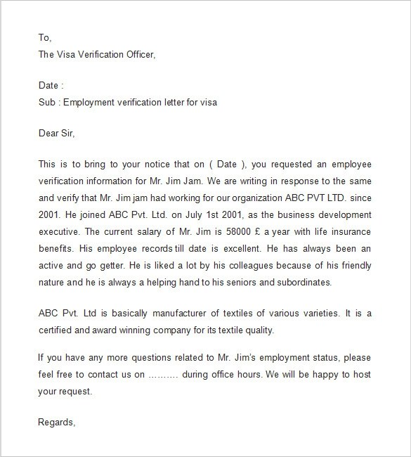 Format Of Sample Letter To Bank Requesting For Change Of Employment Verification Letter 14 Download Free