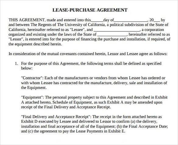 8 Lease Purchase Agreement Template to Download Sample Templates