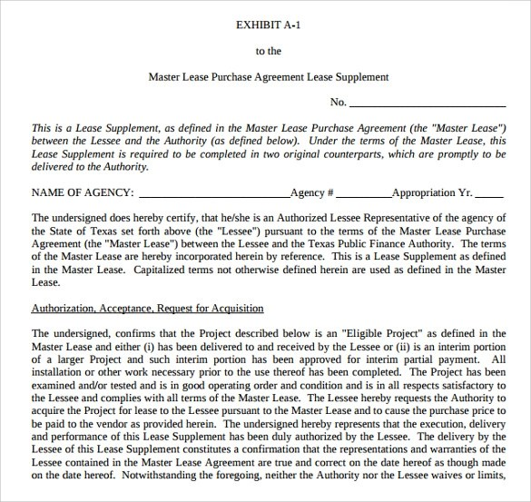 Sample Lease Purchase Agreement - 8+ Free Documents In PDF, Word - master lease agreement