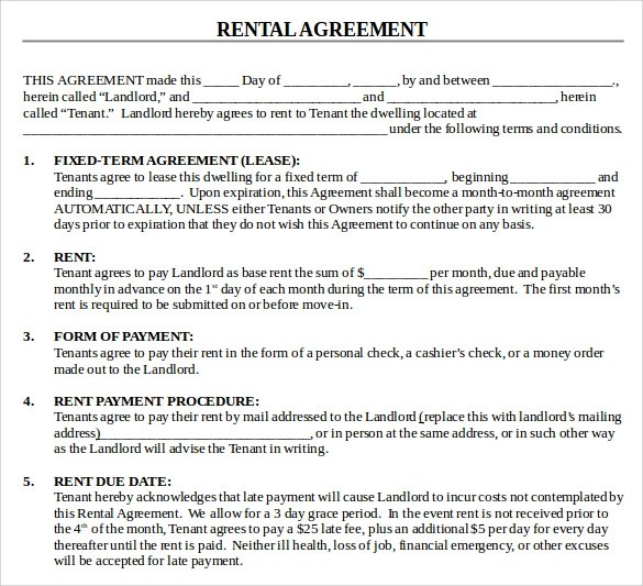 13+ House Lease Agreement Templates Free Download Sample Templates - blank rental lease
