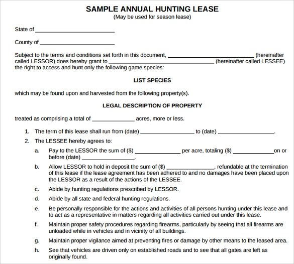 Hunting Lease Agreement Horse Lease Agreement Sample Pasture - sample horse lease agreement template