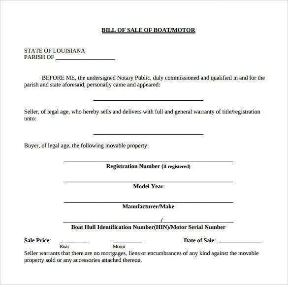 boat bill of sale template word