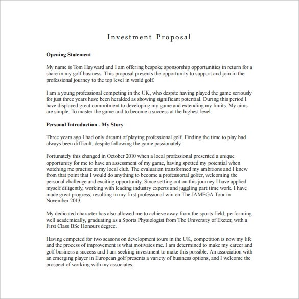 18+ Investment Proposal Samples Sample Templates
