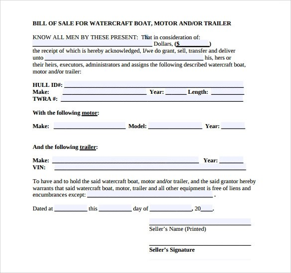 free boat bill sale template