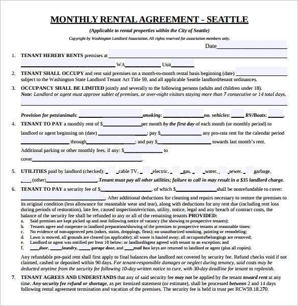 8 Month to Month Lease Agreement Template Download Sample Templates