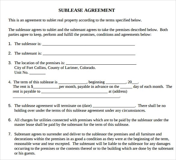 16 Printable Lease Agreement Templates Download for Free Sample - sublease agreement