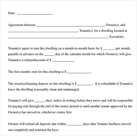 Lease Agreement Template Printable Sample Rental Lease Agreement