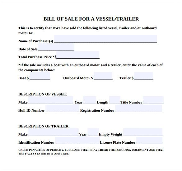 boat bill of sale word template