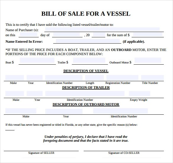 8 Boat Bill of Sale Templates to Free Download Sample Templates - free bill of sale template word
