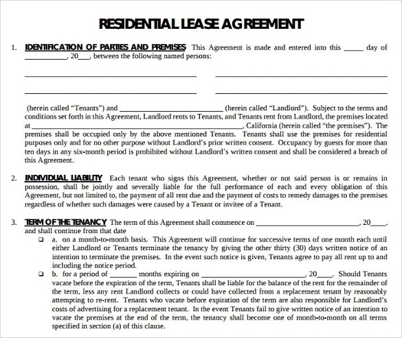 Printable Lease Agreement - 15+ Documents Download For Free In PDF ,WORD - apartment lease agreement free printable