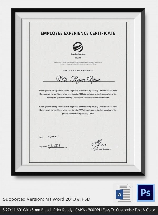 Sample Certificate of Service Template - 19+ Documents in PDF, PSD