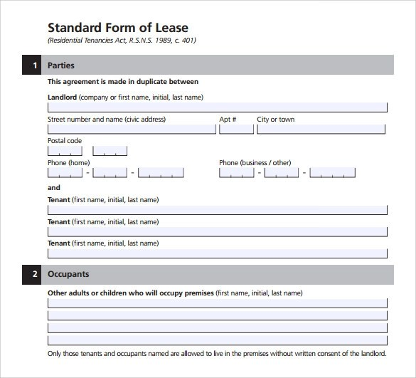 Standard Lease Agreement - 8+ Download Free Documents In PDF - standard lease agreement template