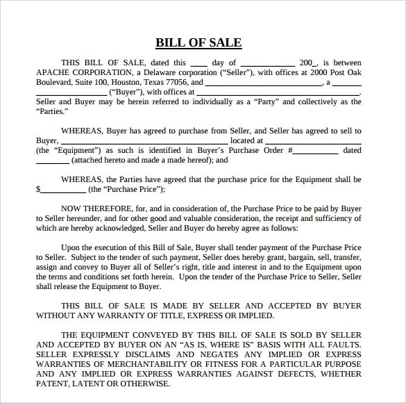 Equipment Bill Of Sale Template - Best Resumes