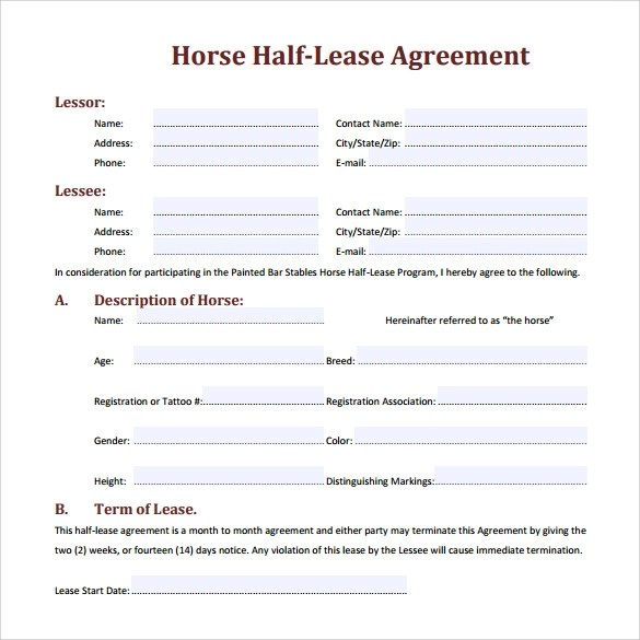 Sample Horse Lease Agreement - 7+ Documents in PDF - lease document template