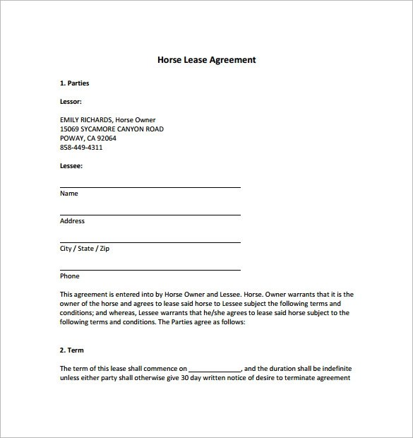 Sample Lease Agreement Extension Best Resumes Curiculum Vitae - sample horse lease agreement template