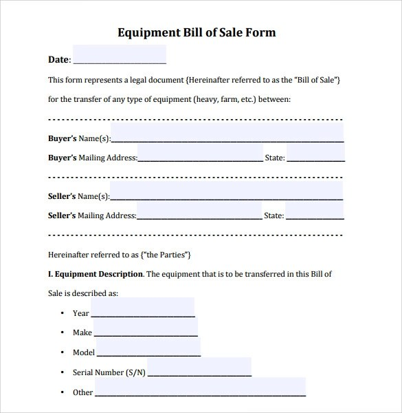 9+ Equipment Bill of Sale Templates Sample Templates - equipment bill of sale