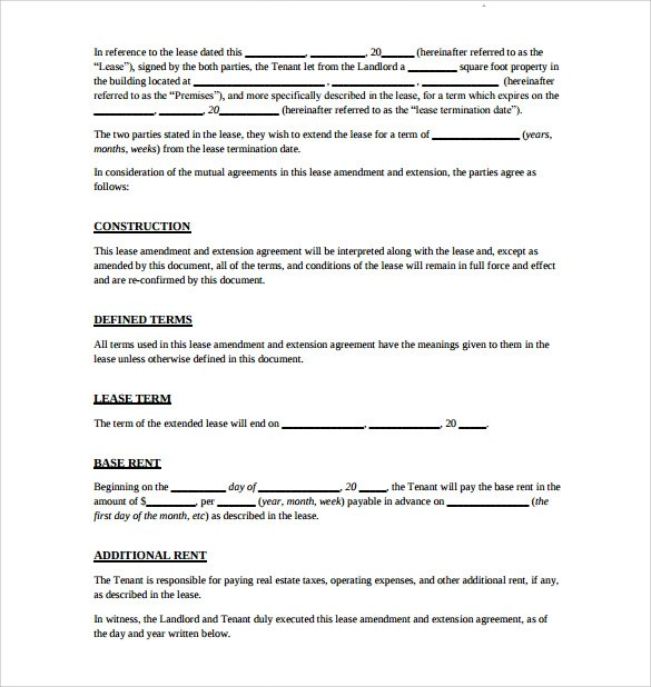 Business Lease Agreement Sample Uk Lease Sample Contracts And Business Forms  Lease Extension Agreement 8 Download