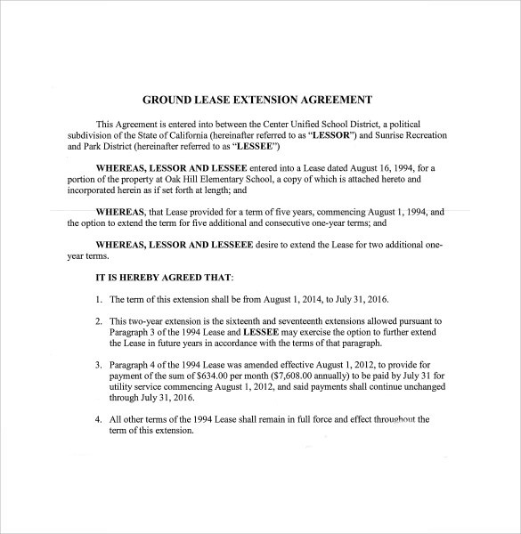 Lease Extension Agreement- 8+ Download Free Documents in PDF - lease extension agreement template
