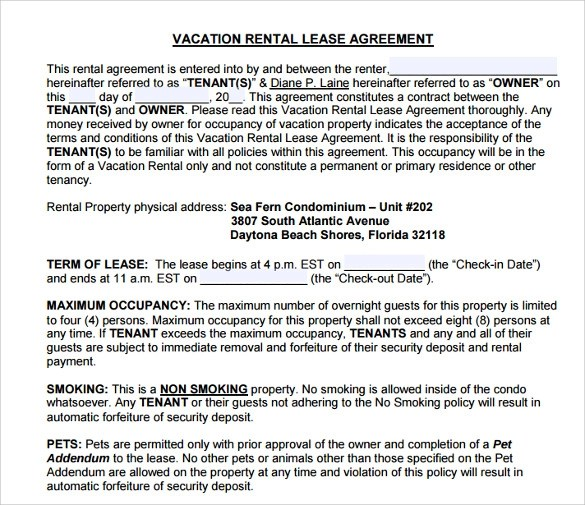8+ Vacation Rental Agreement Samples, Examples, Templates Sample