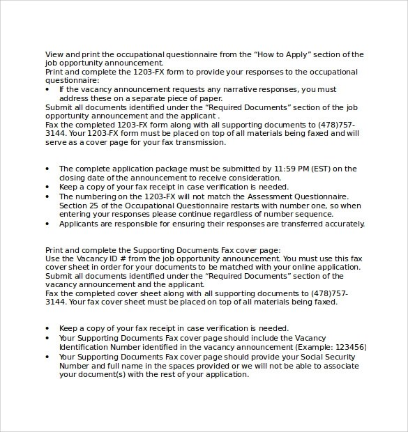 Resume Cover Sheet Example - fax sheet example