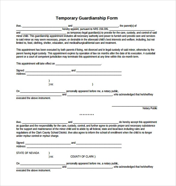 Sample Temporary Legal Guardianship Letter