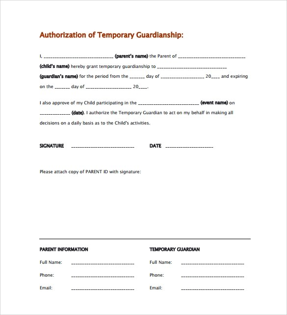 Parent Authorization Letter For Minors Family Sample Temporary Guardianship Form 8 Download Documents