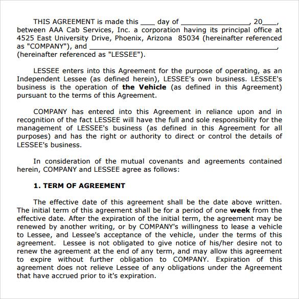 sample vehicle lease agreement template - fototango