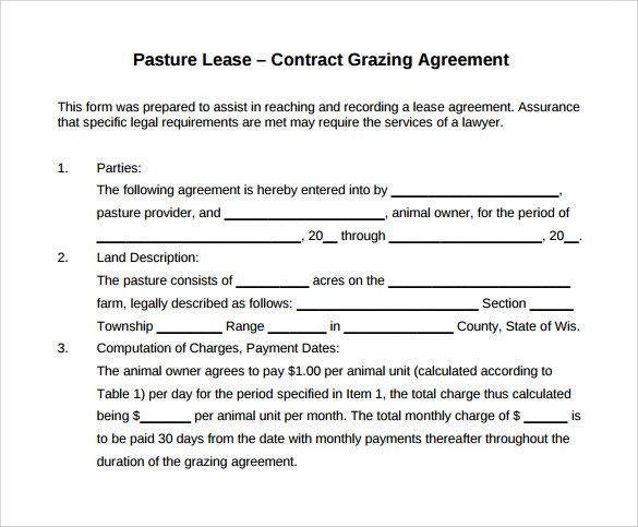 10+ Pasture Lease Agreement Templates Download for Free Sample - Sample Pasture Lease Agreement Template