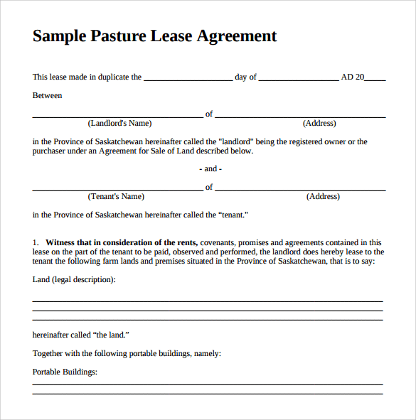 Sample Contract To Lease A Horse – Sample Horse Lease Agreement Template