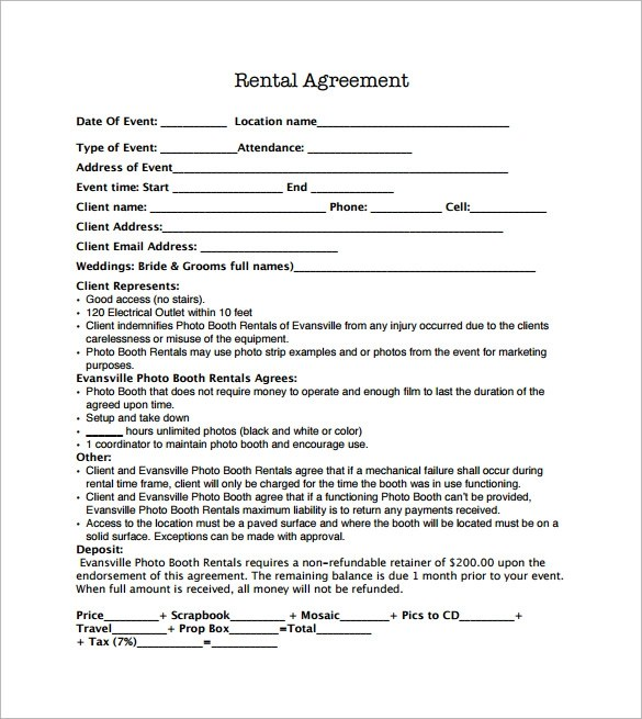 13+ Sample Booth Rental Agreements Sample Templates