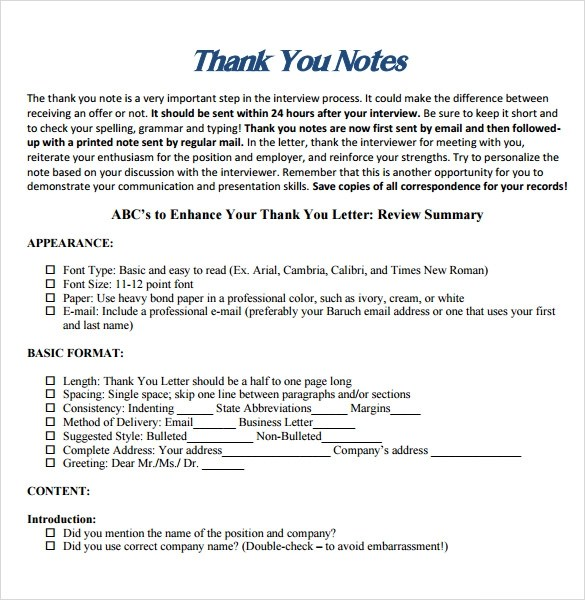 8 Professional Thank You Note Templates for Free Download Sample