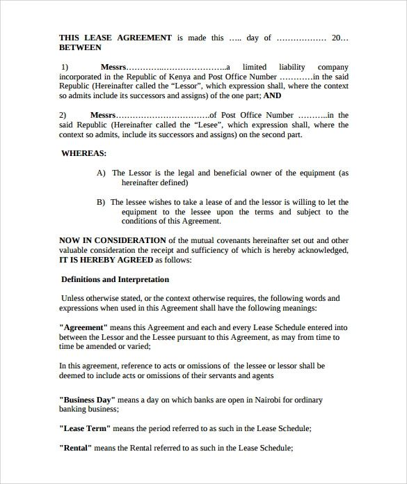equipment lease agreement template free