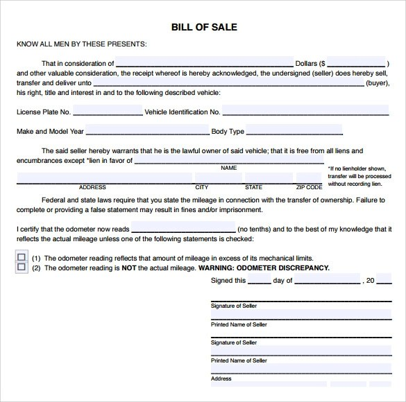 9+ Sample Used Car Bill of Sales Sample Templates