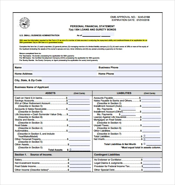 15 Personal Financial Statement Form \u2013 Free Samples, Examples - net worth form