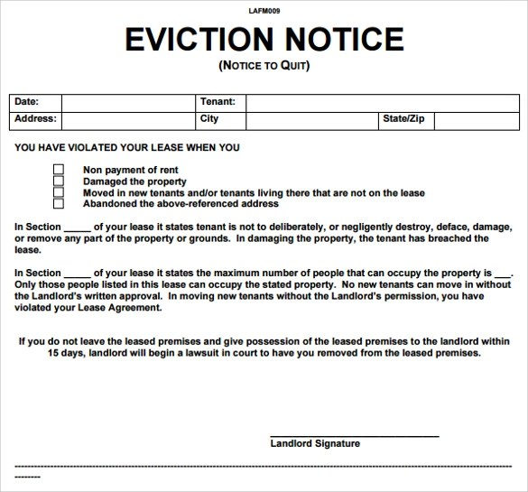 Sample Eviction Notice Letter- 8+ Free Documents In PDF, Word - eviction notice