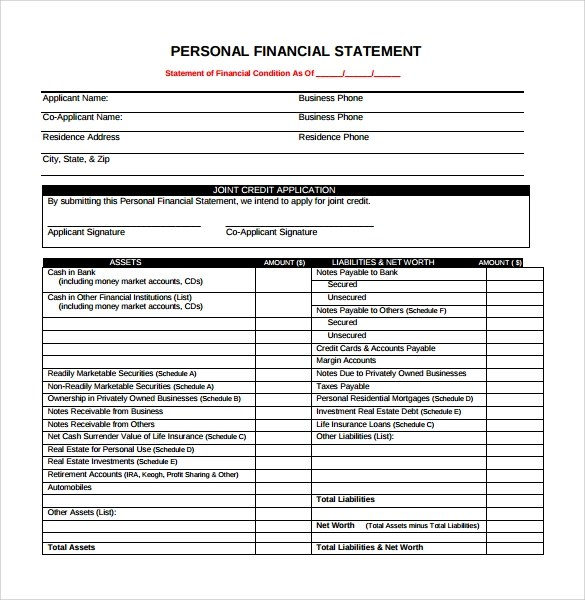 Personal Financial Statement Form Xls  Resume Sample For