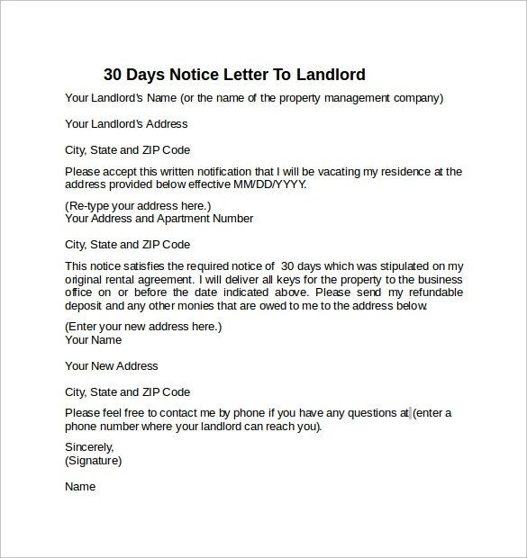 9+ Sample 30 Days Notice Letters to Landlord In Word Sample Templates