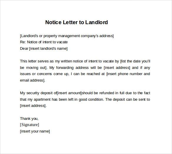 8 30 day notice letter to landlord sample
