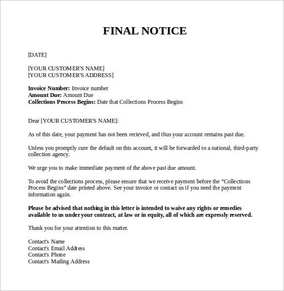 Final Notice Letter Photos Downloads Invoice Templates Past Due - final notice template