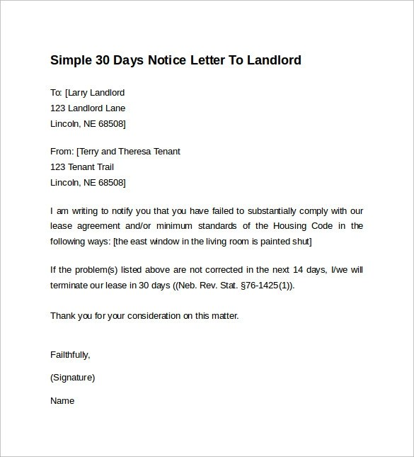 10+ Sample 30 Days Notice Letters to Landlord In Word