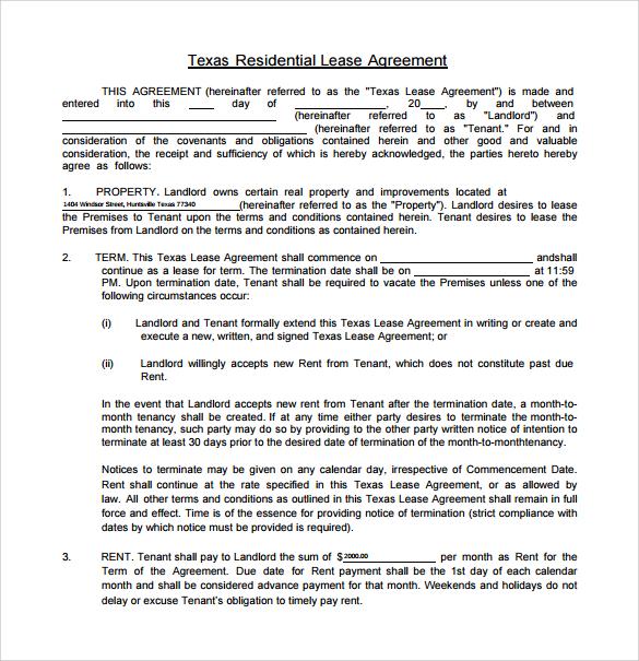 Texas Residential Lease Agreement Kicksneakers
