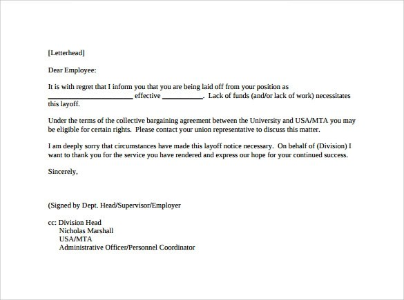 7 Sample Letters of Notice to Download Sample Templates - employee lay off letter