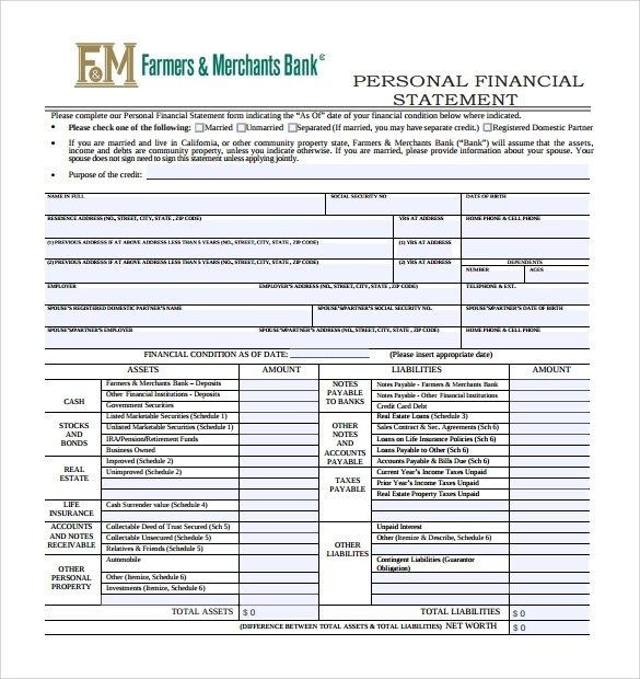 Personal Financial Statement Form - 14+ Free Samples, Examples, Format - blank income statement form